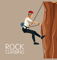 beige color background scene man mountain descent vector image vector image