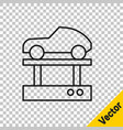 black line repair car on a lift icon isolated on vector image vector image
