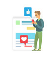 blogger using phone social media communication vector image vector image