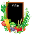 board menu with a group of vegetables vector image vector image
