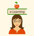 book e-learning on the head vector image vector image
