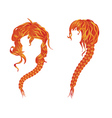 Braided wavy red hair vector image