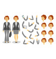 businesswoman character creation set icons vector image