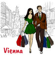 couple in vienna vector image vector image