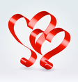 Couple red ribbon hearts vector image vector image