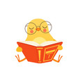 cute baby chicken in glasses sitting on the floor vector image vector image