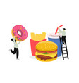 fast food and people interacting with junk vector image