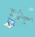 global tracking system isometric flat vector image vector image