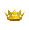 golden crown decorated with blue gemstones vector image