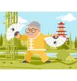 grandfather fan chinese wushu kungfu taichi vector image