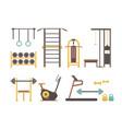 gym sport equipment cartoon set for bodybuilder vector image