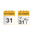 halloween on icons of calendar in different vector image