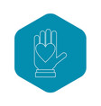 hand with heart icon outline style vector image vector image