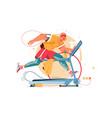 handsome big young man running on treadmill vector image