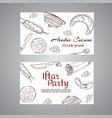 iftar party arabic meals cards ramadan greeting vector image