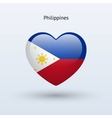 Love Philippines symbol Heart flag icon vector image