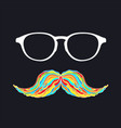 man glass and mustache colorful image vector image vector image