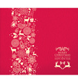 Merry christmas happy new year pattern deer red vector image vector image