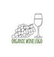 Modern line style logo with grapes leaf and glass vector image