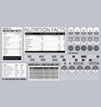 nutrition facts info food natural ingredients on vector image vector image
