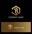 polygon 3d abstract building gold logo vector image vector image