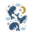 poster with celestial whales moon and clouds vector image vector image