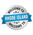 Rhode Island 3d silver badge with blue ribbon vector image vector image
