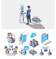 robotic processes smart industry items vector image vector image