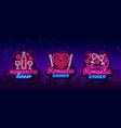 romantic dinner neon logo collection wine vector image vector image