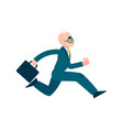 running business man character in suit vector image