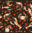 sea creatures seamless pattern orange square vector image