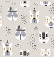 seamless childish pattern with cute animal faces vector image