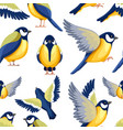 seamless pattern colorful icon set titmouse vector image vector image