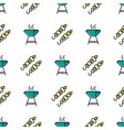 seamless pattern with shish kebab and barbecue vector image vector image