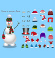 set for creation cute cartoon snowman character vector image