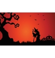 Silhouette of witch and pumpkins Halloween vector image vector image