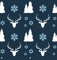 simple seamless christmas pattern deer forest vector image vector image