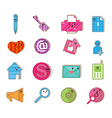 Social color Media type cartoon icon Network vector image vector image