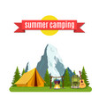 summer camp landscape with yellow tent vector image