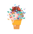 summer scene with ice cream cone sundae vector image vector image
