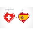 switzerland vs spain flag emblem vector image