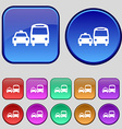 taxi icon sign A set of twelve vintage buttons for vector image vector image