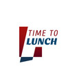 time to lunch cafe letter l icon vector image