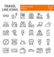 travel line icon set tourism symbols collection vector image vector image