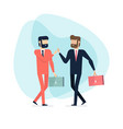 two businessman walking and high five vector image vector image