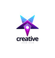 vibrant creative star point logo design vector image vector image