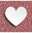 White heart button on red sequin background vector image