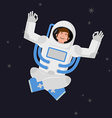 Yoga Space astronaut meditating in open space vector image vector image