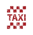 Red grunge taxi logo vector image