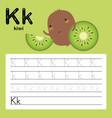 alphabet k worksheet learning english vocabulary vector image vector image